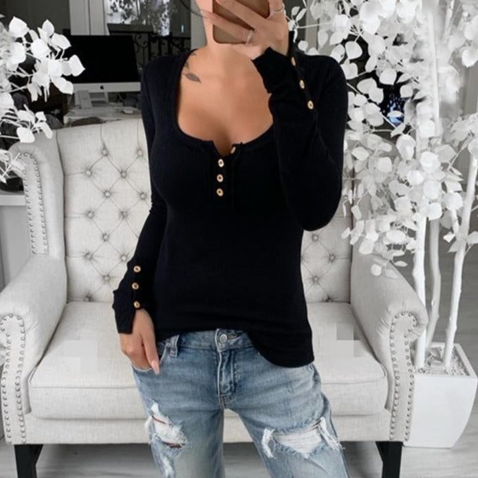 Women Buttoned Down Long Sleeve Shirts Boat Neck Tops - fashionshoeshouse