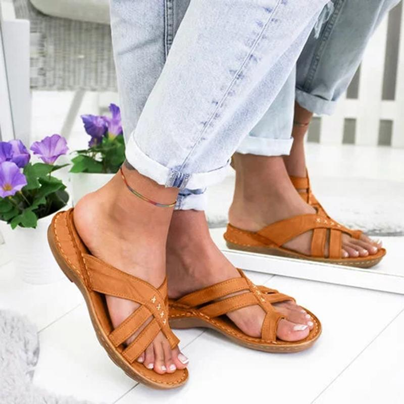 Women Slides Comfy Toe Ring Criss-Cross Slide Sandal - fashionshoeshouse