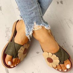 Summer Beach Casual Suede Flowers Slides Flat Sandals - fashionshoeshouse