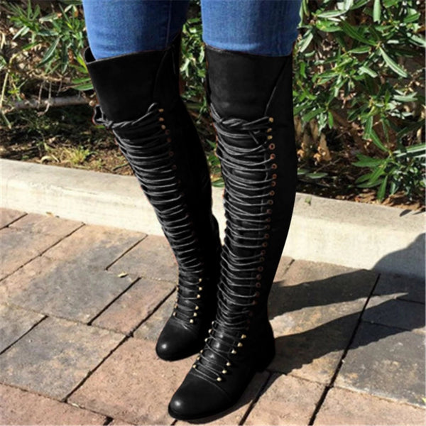 Women's lace up thigh high boots skinny over the knee boots