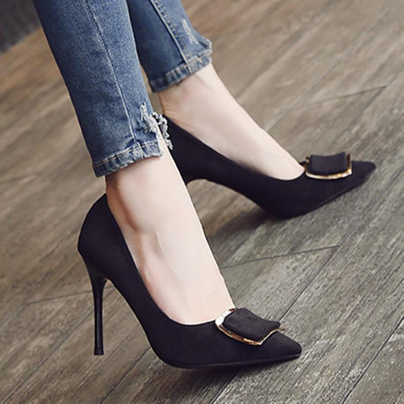 2 3/4 Inch Height Square Metal Buckle Suede Black Heels For Women - fashionshoeshouse