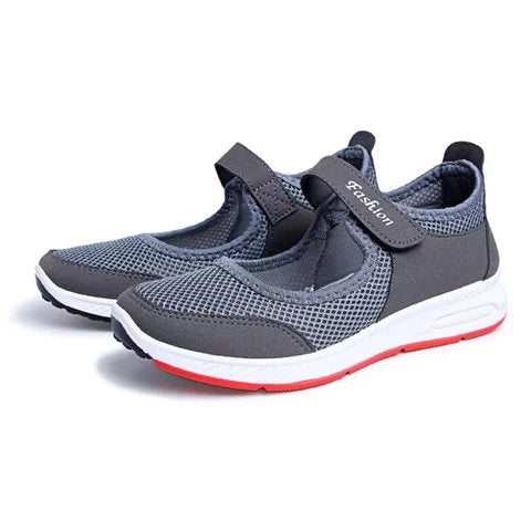Women Mesh Fabric Breathable Magic Tape Sneakers - fashionshoeshouse