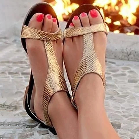 Women Comfort Gladiators Adjustable Buckle Snakeskin Sandals - fashionshoeshouse