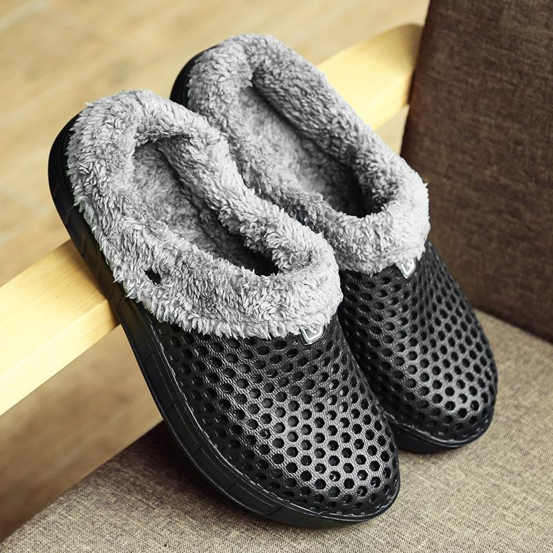 Large Size Hollow Out Winter Casual Slippers For Women - fashionshoeshouse