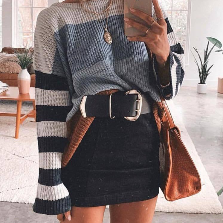 Elegant Knit Pullover Striped Pink Sweater For Women - fashionshoeshouse