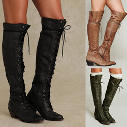 Women Chunky Heel Studded Lace Up Over The Knee Boots