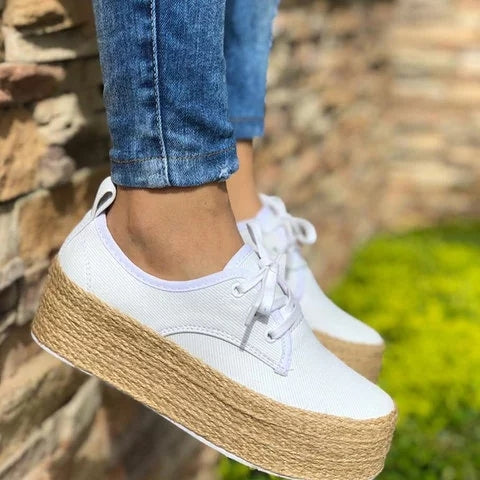Fashion Women Platform Canvas Sneakers Lace-up Girl Sneakers - fashionshoeshouse