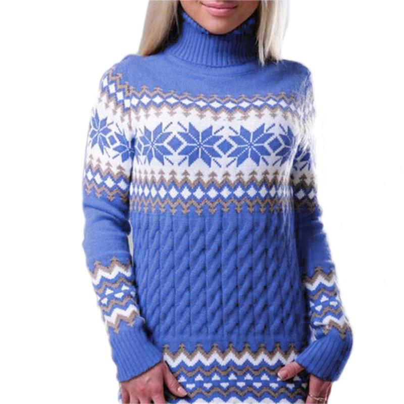 Women Snowflake Turtleneck Sweater For Christmas - fashionshoeshouse