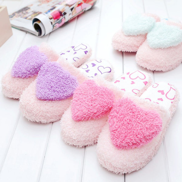 Women's cute heart slippers soft plush warm house shoes