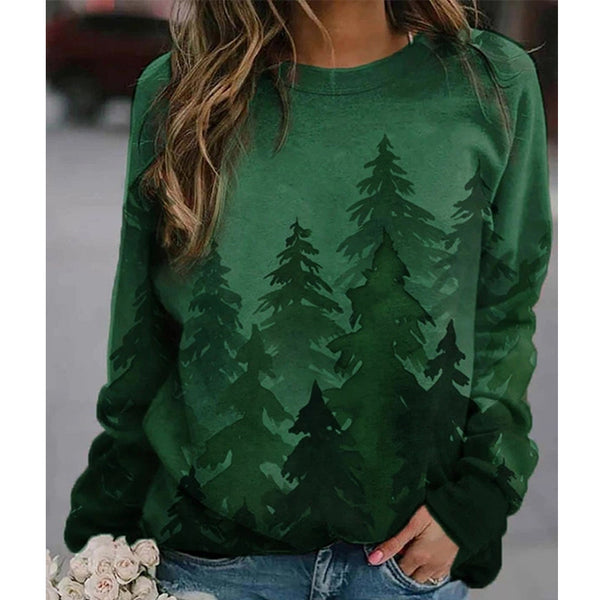 Women's Christmas tree printed pullover crewneck sweatshirts casual loose long sleeves tops