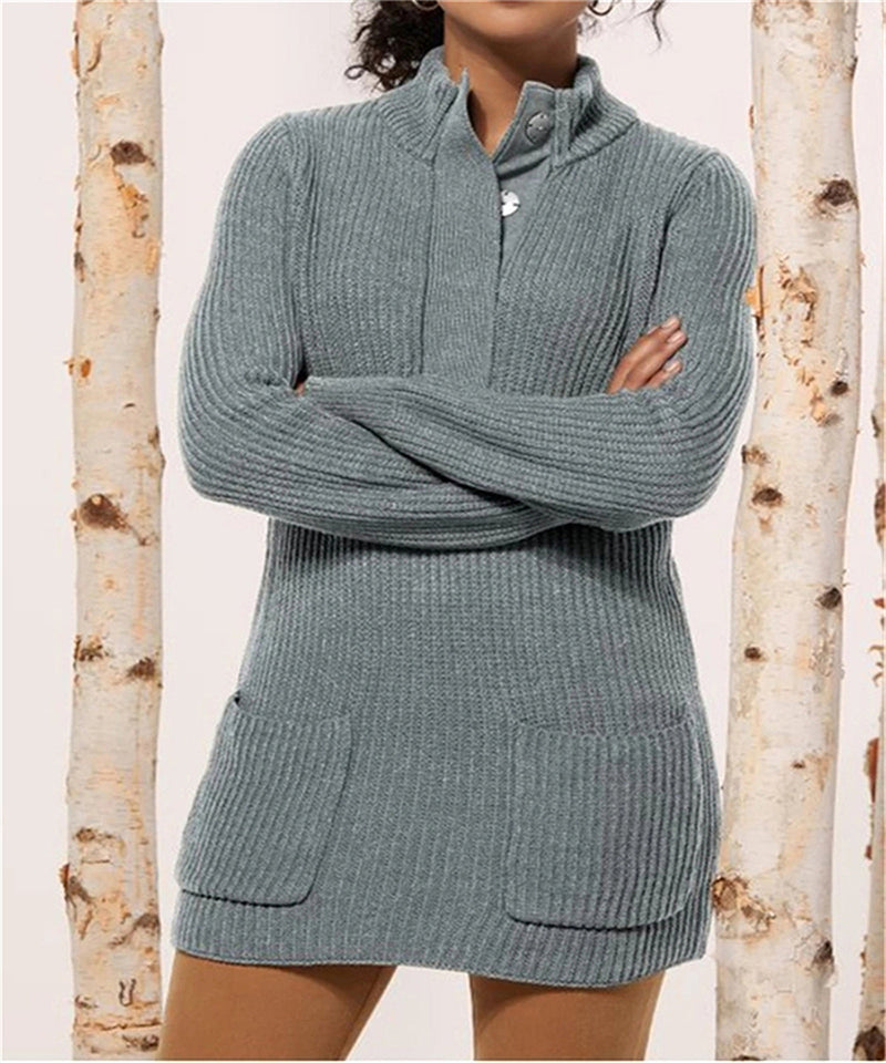 Women Standing Neck Knit Sweater With Pockets - fashionshoeshouse
