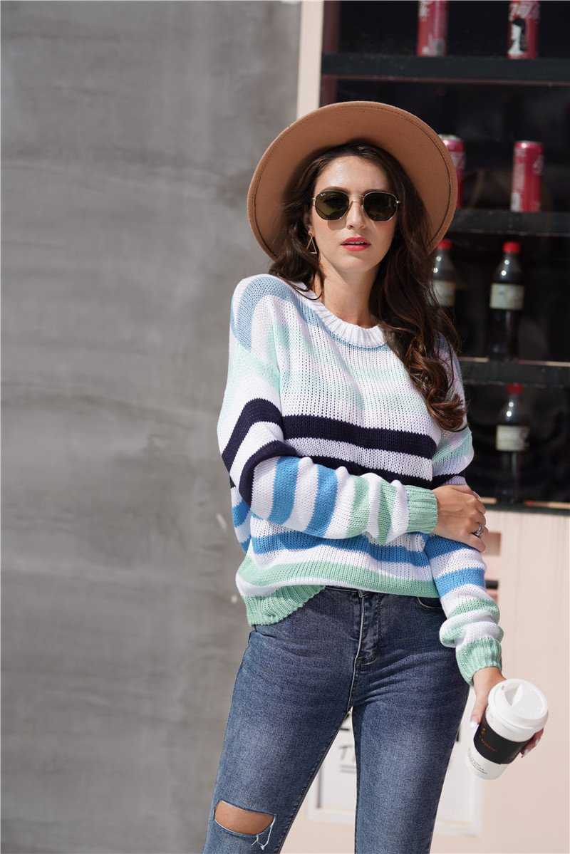 Women Rainbow Striped Color Block Crew Neck Sweater - fashionshoeshouse