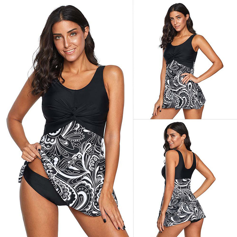 Crew Neck Covers Two Pieces Swim Dresses For Women - fashionshoeshouse