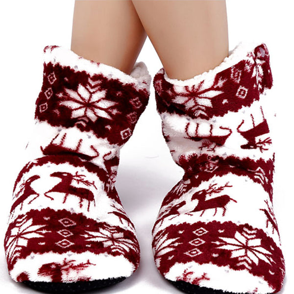 Women's Christmas reindeer print cotton lining indoor boots warm indoor house slippers