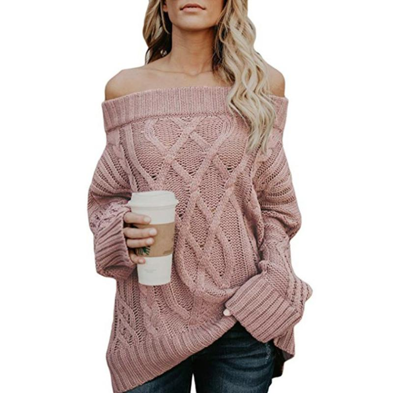 Women Fall Winter Twist Flowers Off Shoulder Sweater - fashionshoeshouse