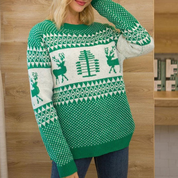 Crew Neck Pullover Christmas Sweater Womens - fashionshoeshouse