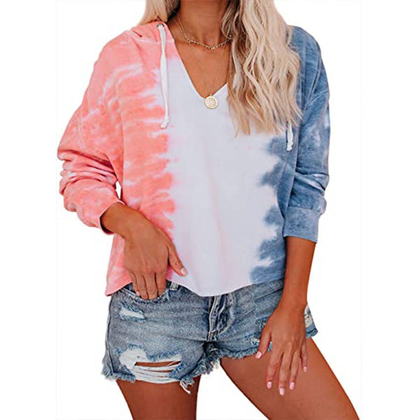 Fashion tie dye drawstring hooded sweatshirt fashion hoodie for women