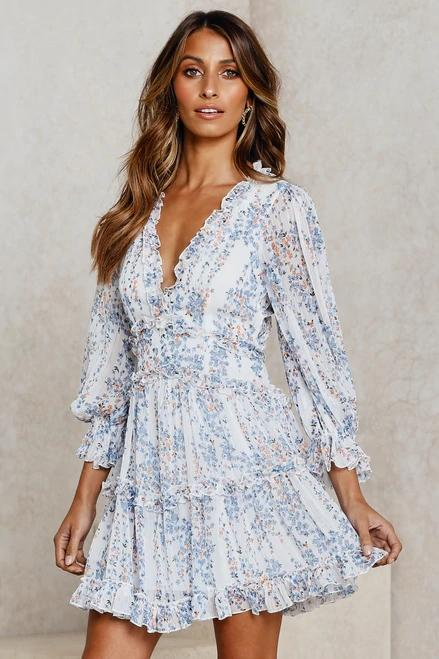 Deep V Backless Puff Long Sleeve Floral Dresses For Women - fashionshoeshouse