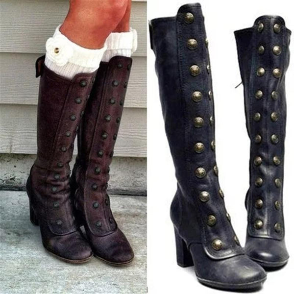 Women Vintage Double-Breasted Chunky Mid-Calf Boots - fashionshoeshouse