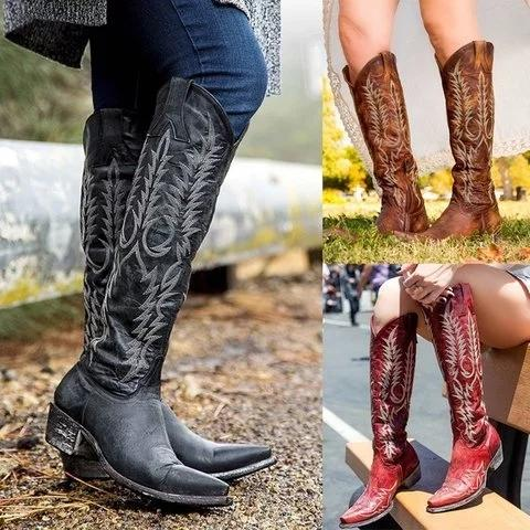Vintage Zipper Printed Mid-Calf Women Boots - fashionshoeshouse