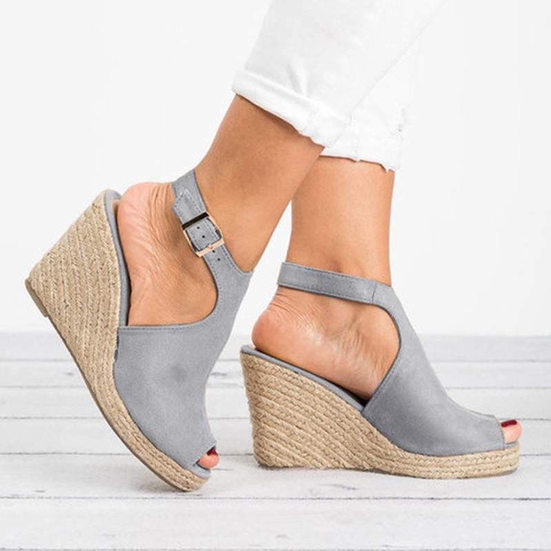 Wedge Espadrille Suede Peep Toe Ankle Strap Slingback Sandals - fashionshoeshouse
