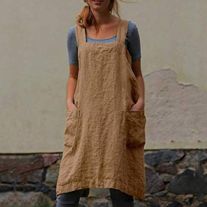 Linen Shoulder Strap Pinafore Mini Dress - fashionshoeshouse