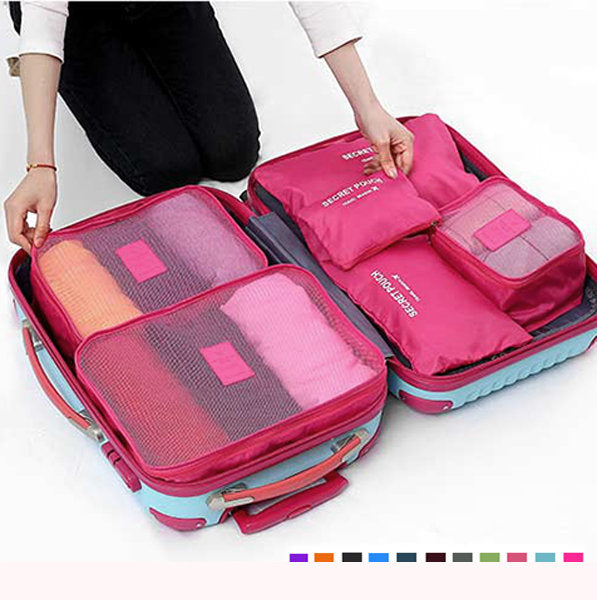 6pcs Nylon Travel Bag Set Large Capacity Clothing Sorting Organizer - fashionshoeshouse