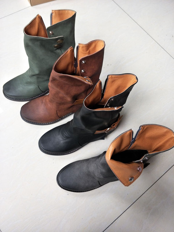 Vintage Casual Low heel  Platform Ankle Boots - fashionshoeshouse