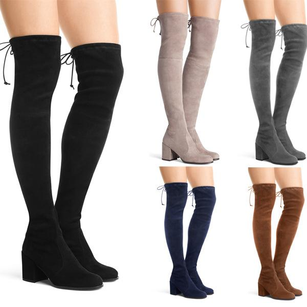 Women's suede skinny stretch thigh high boots block heel winter warm long boots