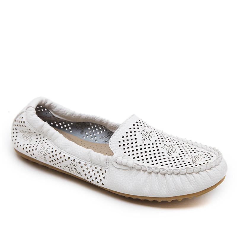 a2958c0aeb1 Pure Color Howllow Out Breathable White Flat Shoes For Women -  fashionshoeshouse