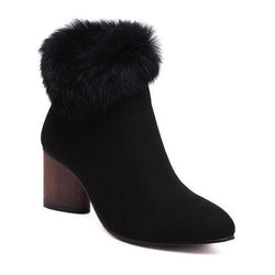 Plush Keep Warm Pointed Toe Martin Boots For Women - fashionshoeshouse