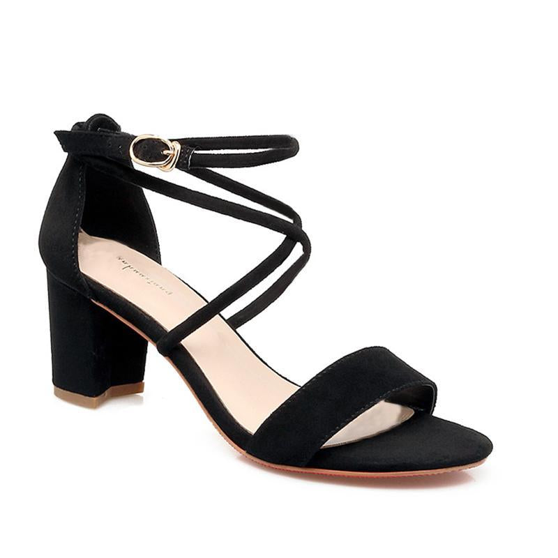 Criss Cross Straps Hollow Out Black Chunky Women Sandals - fashionshoeshouse