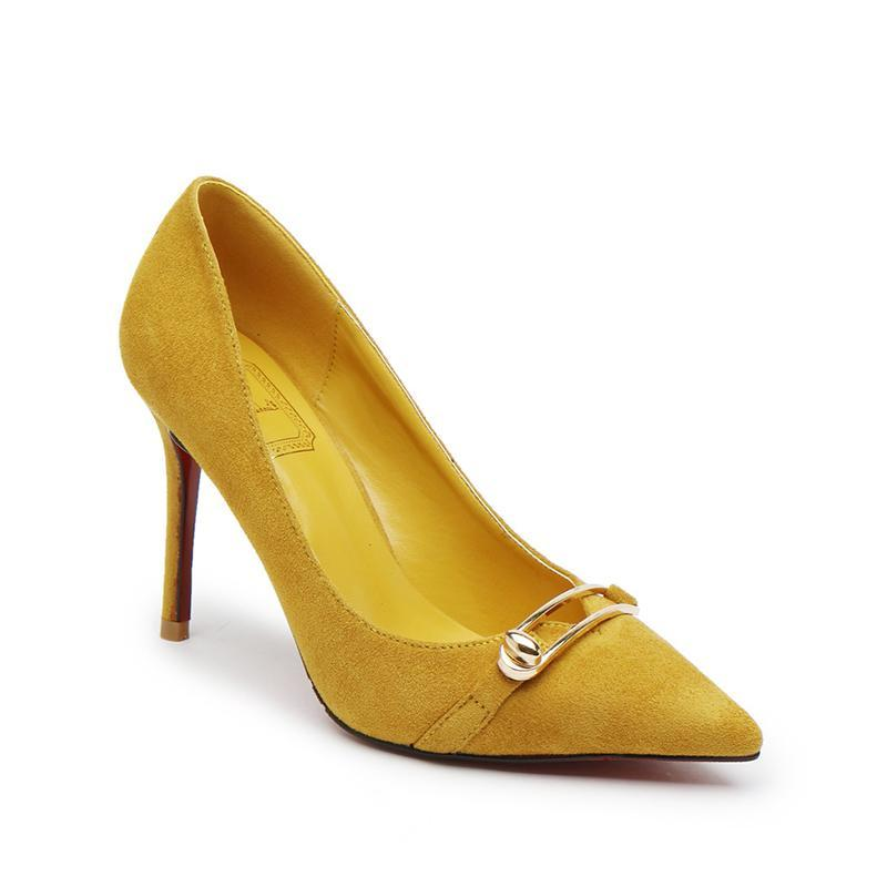 2 3/4 Inch Height Suede Metal Decorated Shallow Yellow Heels For Women - fashionshoeshouse