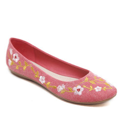 Gunny Cloth Flower Embroidered Pink Flat Shoes For Women - fashionshoeshouse
