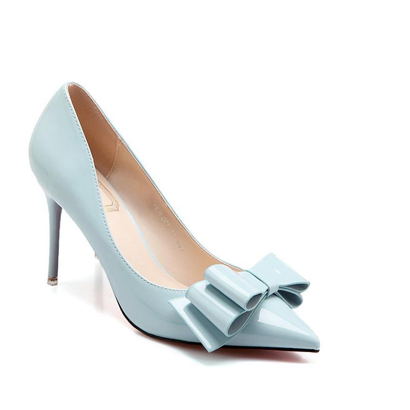 2 3/4 Inch Height Elegant Bowknot Cinderella Stiletto Blue Heels For Women - fashionshoeshouse