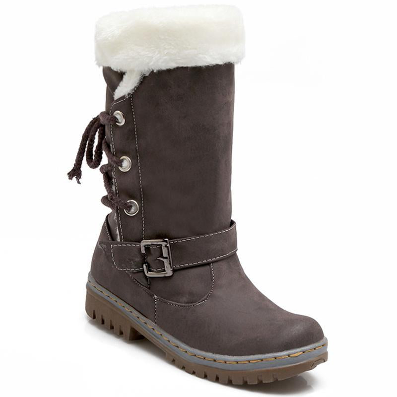 Mid Calf Boots Buckle Fur Lining Flat Snow Boots For Women - fashionshoeshouse