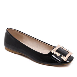 Pattern Leather Square Toe Casual Black Flat Shoes For Women - fashionshoeshouse