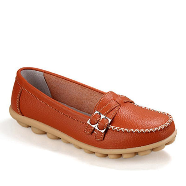 Brown Loafers for Women Slip-on Leather Moccasins for Driving - fashionshoeshouse