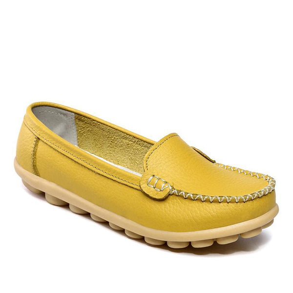 Leather Slip-on White Flats Comfy Flat Shoes For Women - fashionshoeshouse
