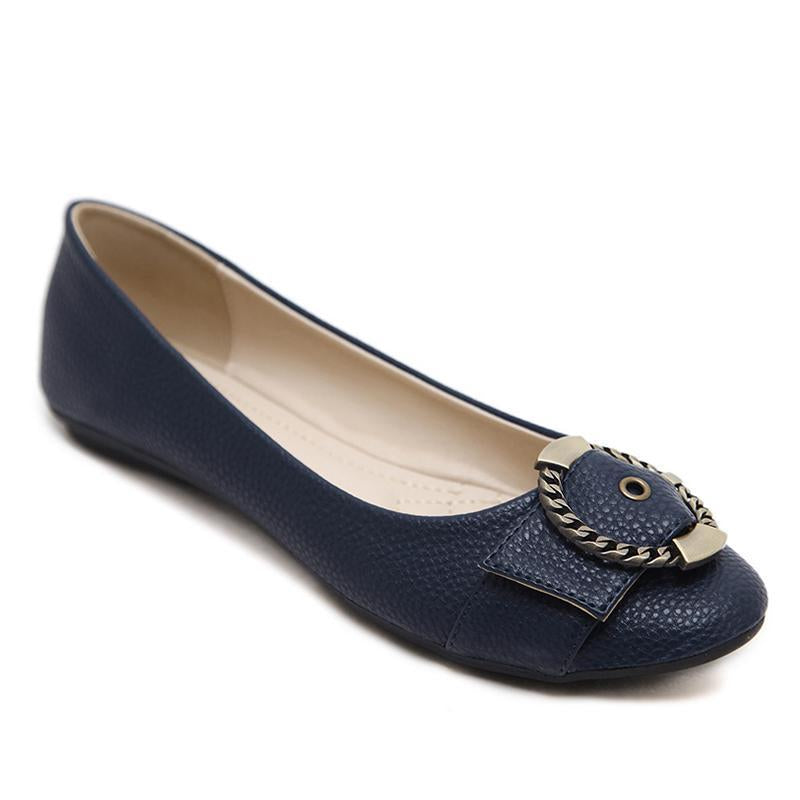 Metal Ring Microfiber Lining Portable Navy Flat Shoes For Women - fashionshoeshouse