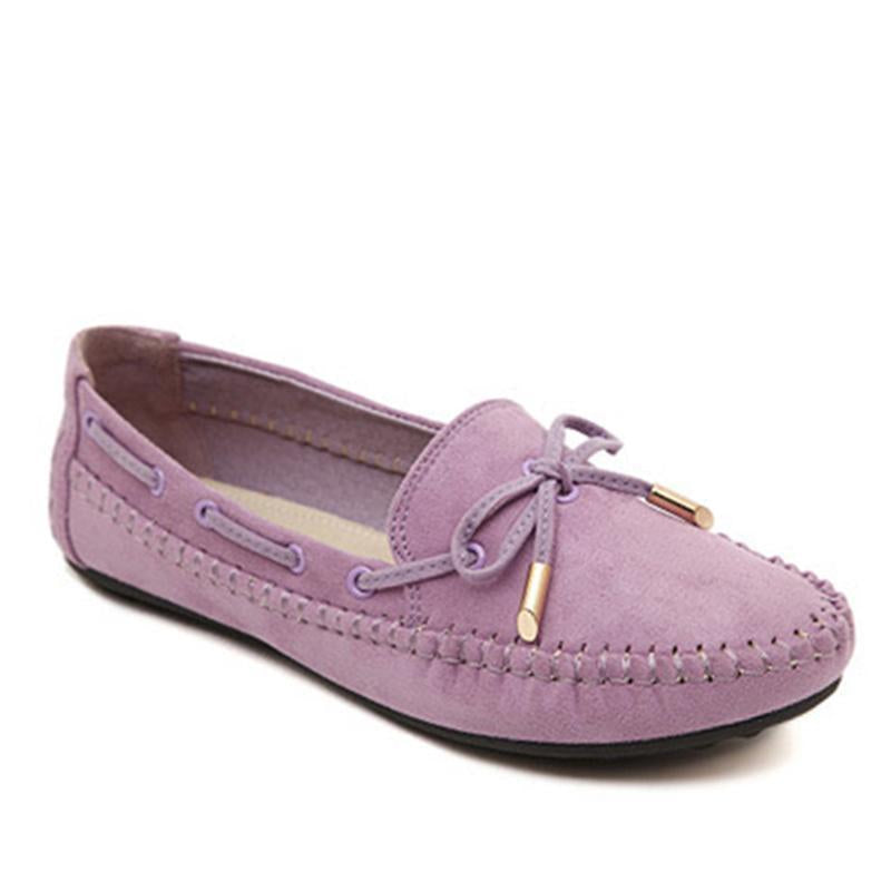 Women Suede Loafers Slip on Flat Shoes with Classic Tassel Design - fashionshoeshouse