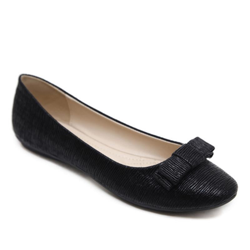 Pure Color Round Toe Shallow Black Flat Shoes For Women - fashionshoeshouse