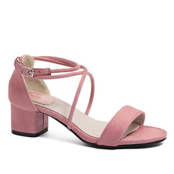 Medium Height Lace Up Straps Pink Women Sandals - fashionshoeshouse