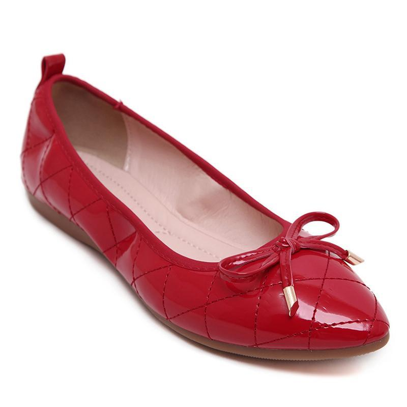 Driving Dress Grid Pattern Bowknot Red Flat Shoes For Women - fashionshoeshouse