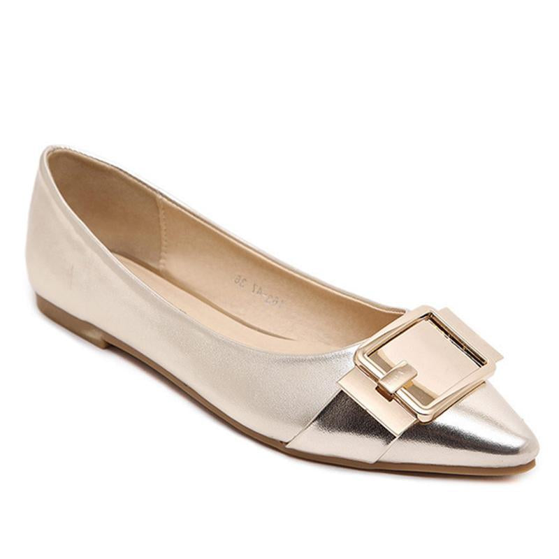 Sequin Fabric Pointed Toe Golden Flat Shoes For Women - fashionshoeshouse