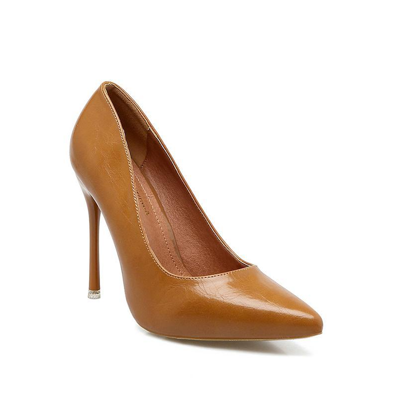 Shallow Pure Colour Autumn Yellow High Heels For Women - fashionshoeshouse