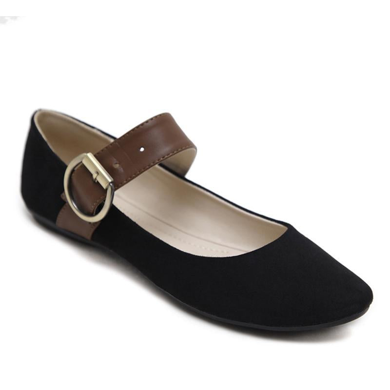 Suede Round Belt Buckle Black Flat Shoes For Women - fashionshoeshouse