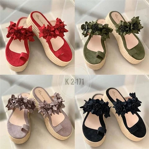 Women New Fashion Flowers Bohemia Espadrille Chunky Platform Sandals - fashionshoeshouse