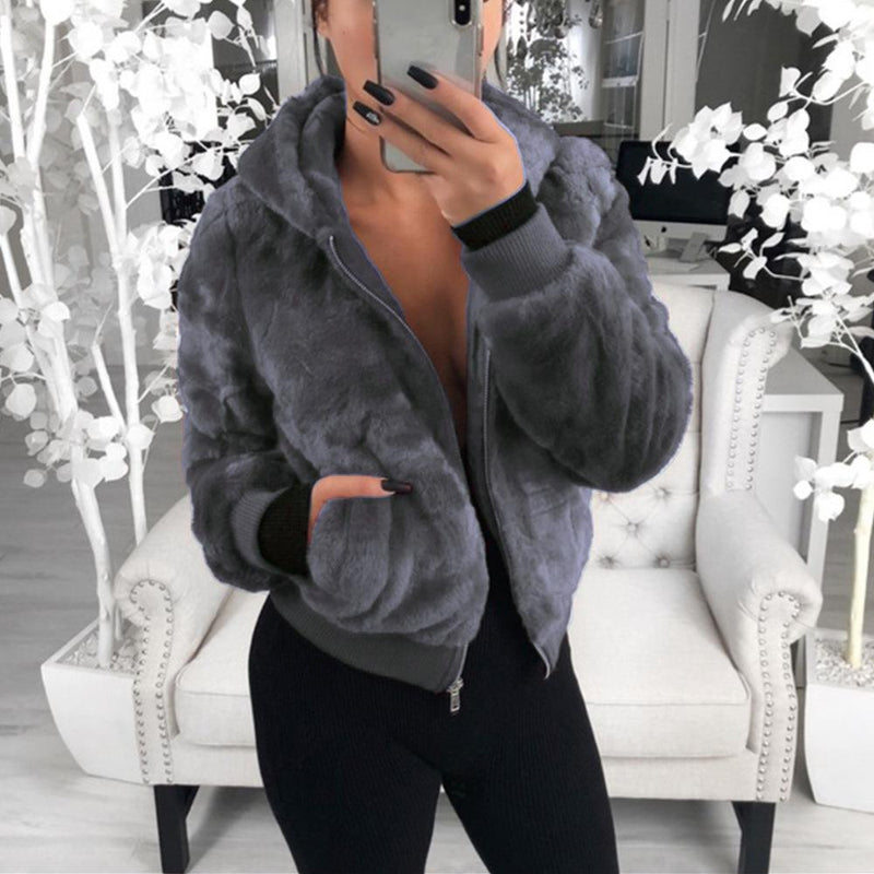 Women Hoodie Solid Faux Fur Coat With Pockets - fashionshoeshouse