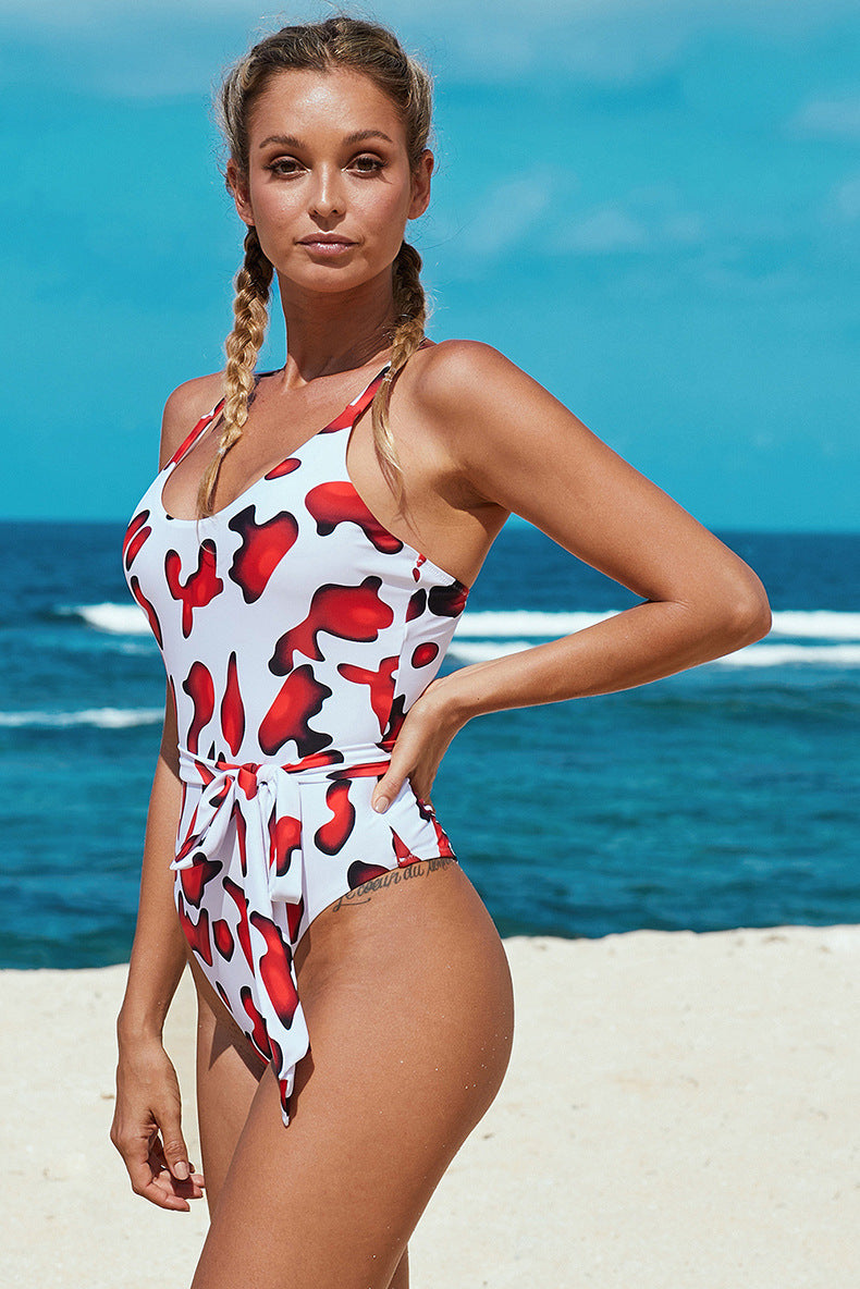 Boat Neck Criss Cross Bowknot Triangle One Piece Swimsuit - fashionshoeshouse